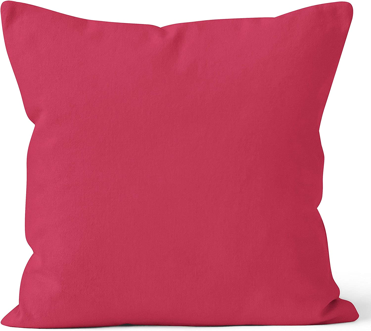 Encasa Homes Housses de Coussin Lot de 2 50 x 50 cm - Rose Fuchsia Doux Coton Toile Teint Rectangulaire Taie Oreillers Color/é Decoratif pour Maison Decor Salon Chambre Canap/é Lavable import/é