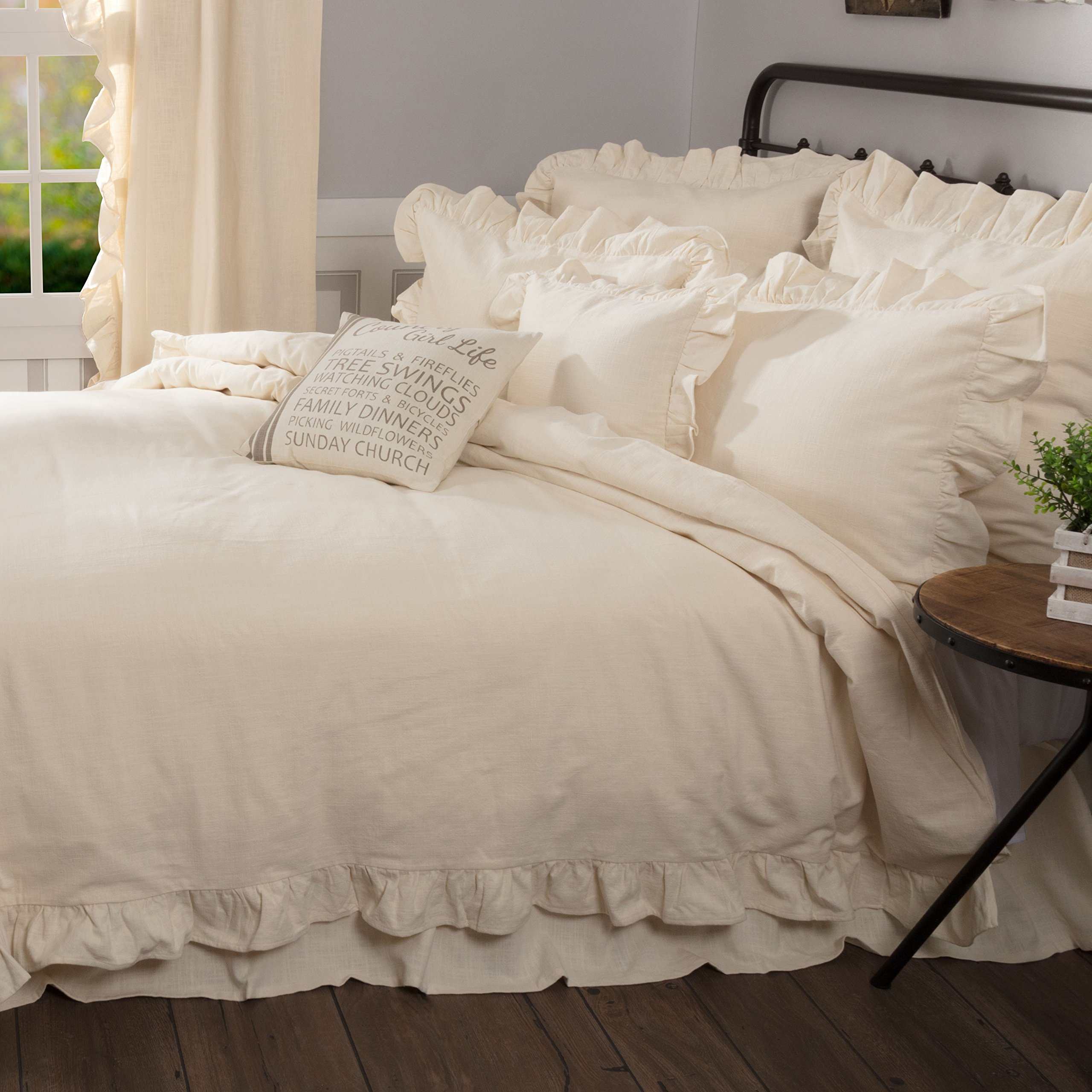 Ashley Natural King Ruffled Duvet Cover, 92x108, Farmhouse Style Beige Cream Comforter Cover