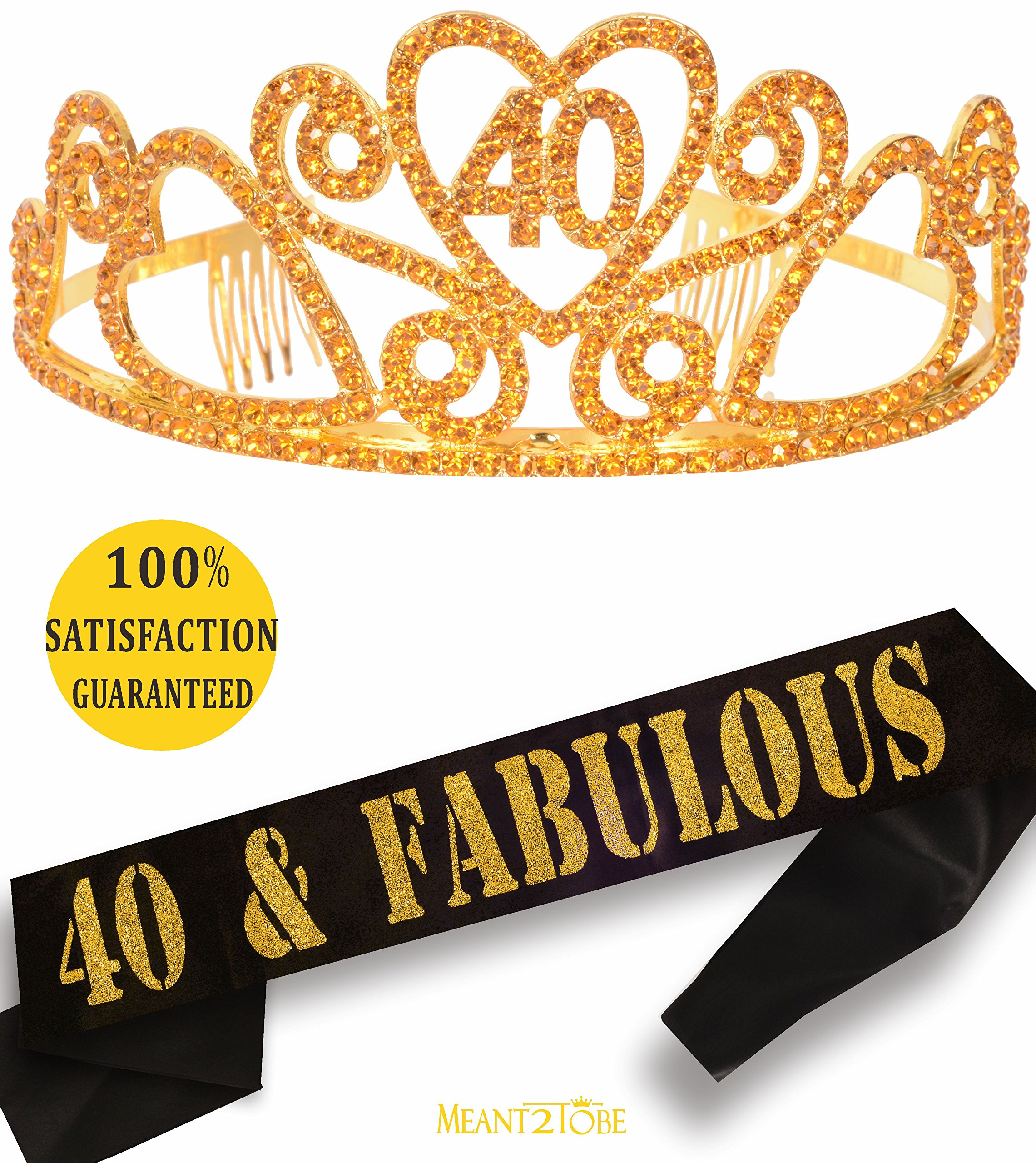 Gold 40th Birthday Tiara and Sash, HAPPY 40th Birthday Party Supplies, 40 & Fabulous Gold Black Glitter Satin Sash and Crystal Tiara Birthday Crown for 40th Birthday Party Sup (Gold Tiara + Gold Sash)
