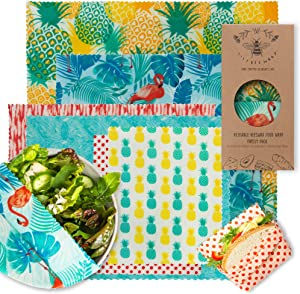 Beeswax Wrap Reusable Food Wraps by Lilybee | Sustainable Zero Waste Bees Wax Food Wrappers | Sustainable, Biodegradable, Organic, Plastic Free