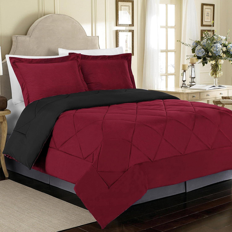 Cathay Home 90 GSM 3 Piece Microfiber Reversible Comforter Set, King, Burgundy/Black