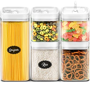 Airtight Food Storage Containers with Lids - Canister Set for the Kitchen - BPA Free Clear Plastic Cereal Storage Containers - Best Extra Capacity Dry Food Storage Containers 5 Piece Set