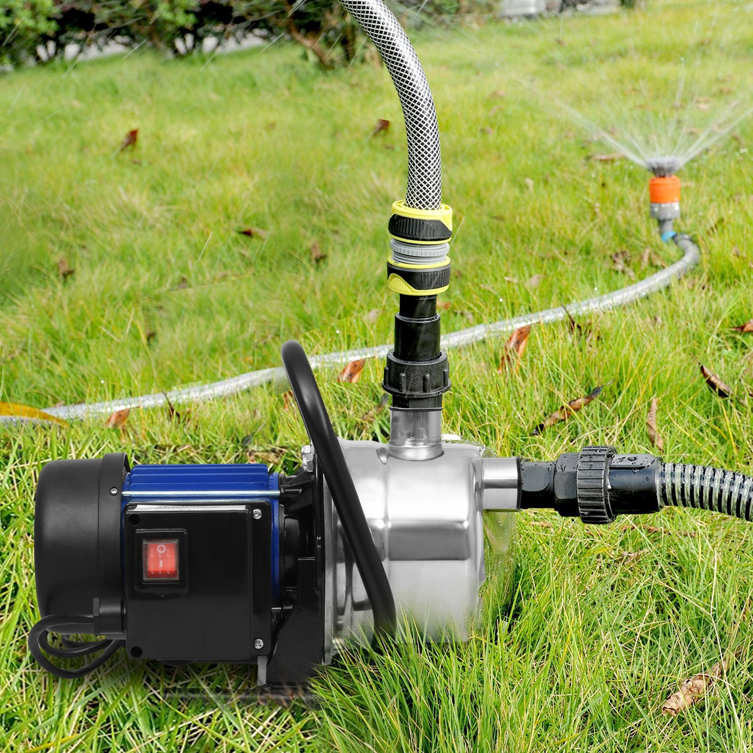 1.6HP Shallow Well Sump Pump Stainless Booster Pump Lawn Water Pump Electric Water Transfer Home Garden Irrigation(1.6 HP_Blue) by Flyerstoy