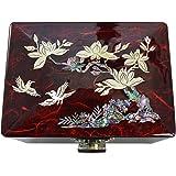 Beau petit coffret rouge pour bijoux, dessin de fleurs de prunier, décoration de nacre, velours rouge et miroir, art Corée