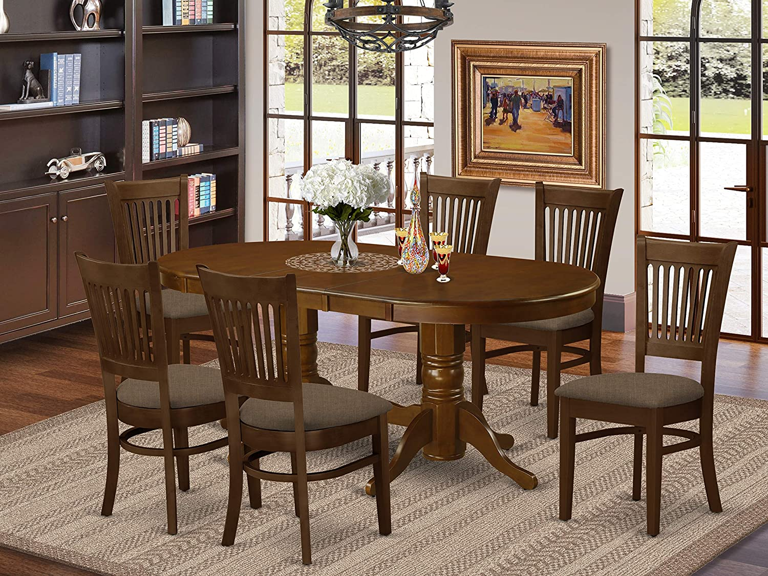 Amazon Com 7 Pc Dining Room Set Table With Leaf And 6 Dining Chairs Furniture Decor