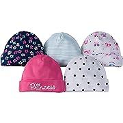 Gerber Baby Girls 5 Pack Cap, Princess, 0-6 Months