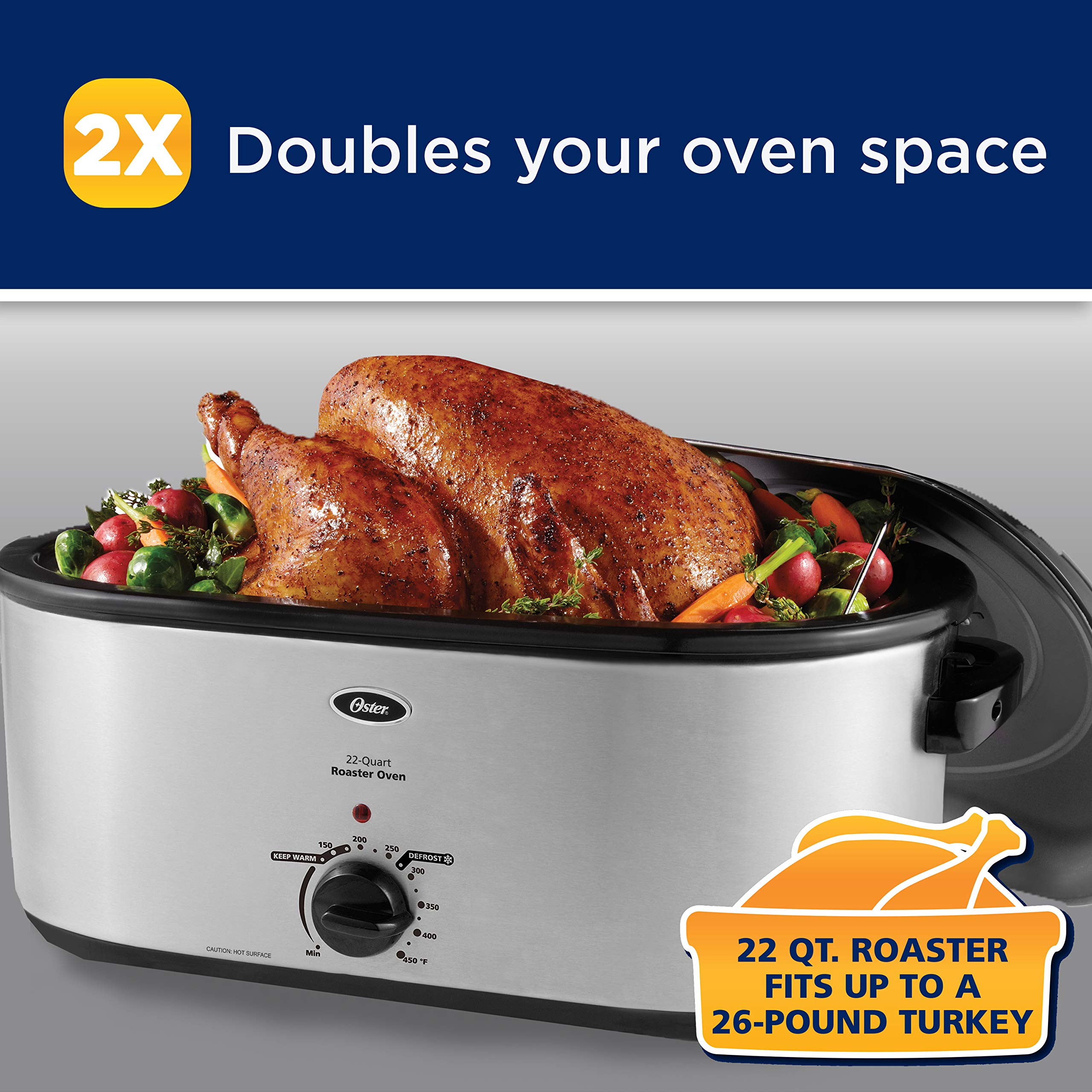 Oster 18 Quart Roaster Oven With High Dome Lid Stainless: Oster Roaster Oven With Self-Basting Lid, 22-Quart