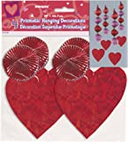 "18"" Hanging Foil Red Heart Decorations, 4ct"