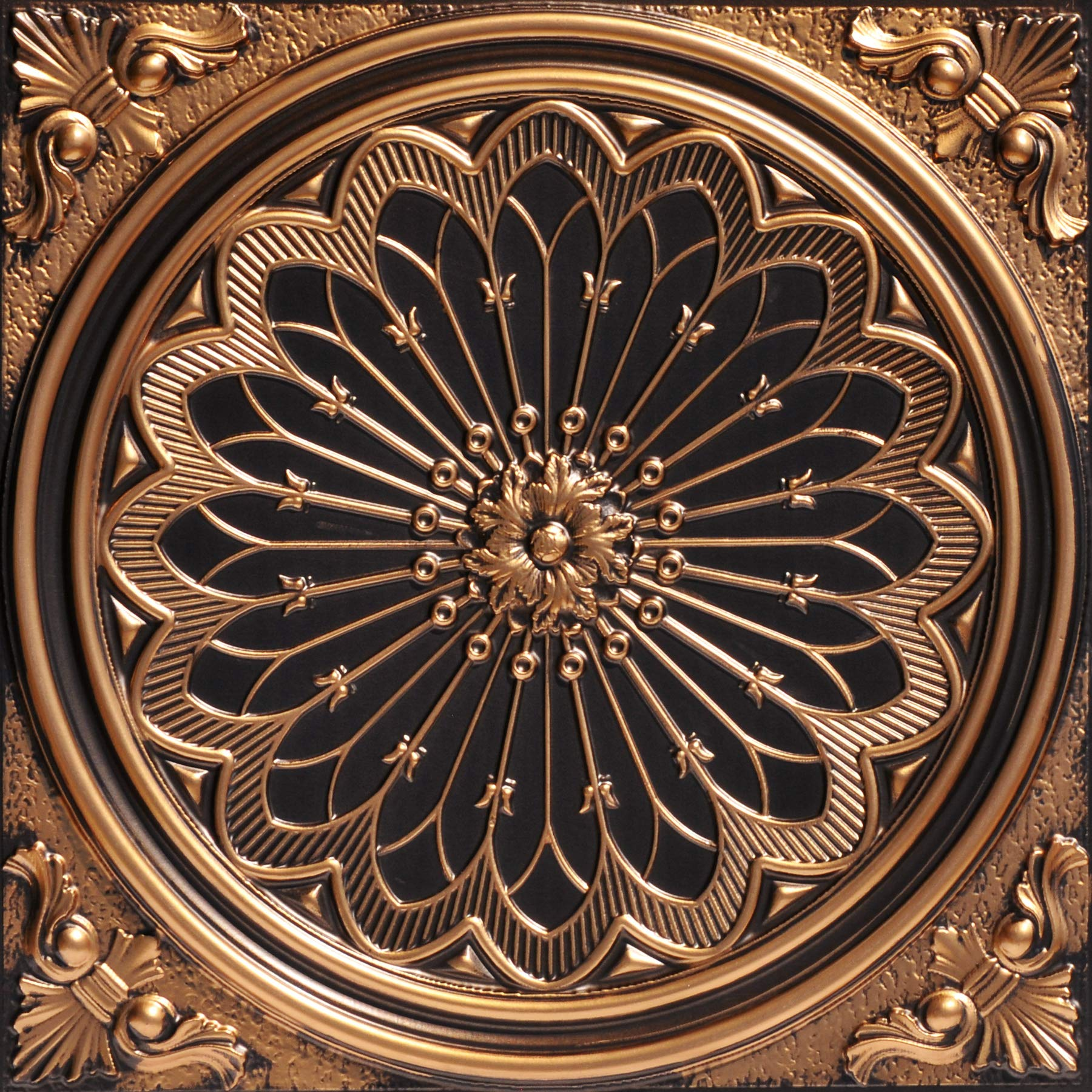 From Plain To Beautiful In Hours 238ag-24x24-25 Rose Window Ceiling Tile, Antique Gold, 25 by From Plain To Beautiful In Hours
