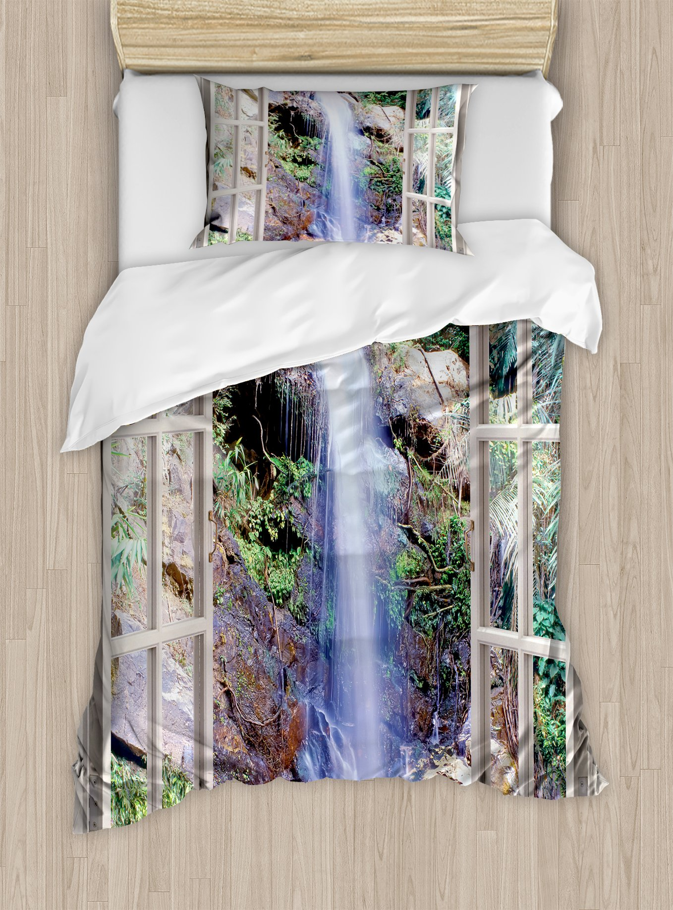 Ambesonne Waterfall Duvet Cover Set Twin Size, Open Window Sees A Small Water Cascade Flowing Down Hills Recreational Picture, Decorative 2 Piece Bedding Set with 1 Pillow Sham, Brown Green