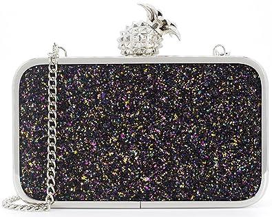 Dexmay Womens Evening Bag Bling Sequin Clutch Bag with Pineapple Clasp  Glitter Clutch Purse Multi Black e40179e38e8c