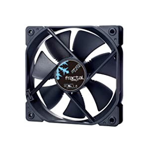Fractal Design Dynamic X2 GP-12 Computer Fan - Silent Fan - High Airflow – 120x120x25 mm – 1200RPM – Hydraulic Fdb Bearings – Trip Wire - Aerodynamically Shaped Struts – 12V - Black (Single)