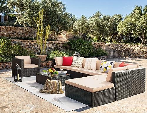KaiMeng 8 Piece Patio Sofas Furniture Outdoor Lawn Garden Rattan Set