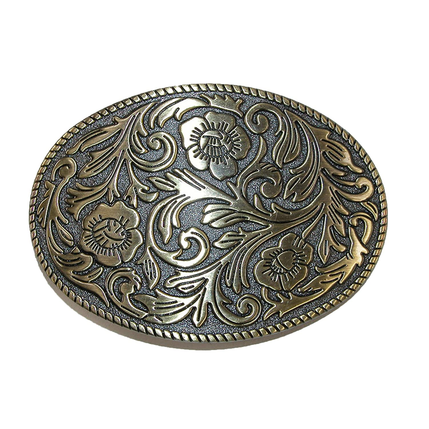 CTM® Floral Print Belt Buckle, Silver RR-542-SIL