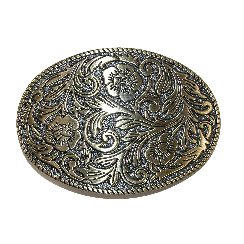 CTM® Floral Print Belt Buckle, Gold RR-542-GLD
