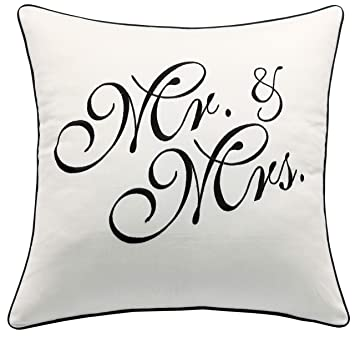 Amazon.com: yugtex fundas de almohada Mr & Mrs Bordado Throw ...
