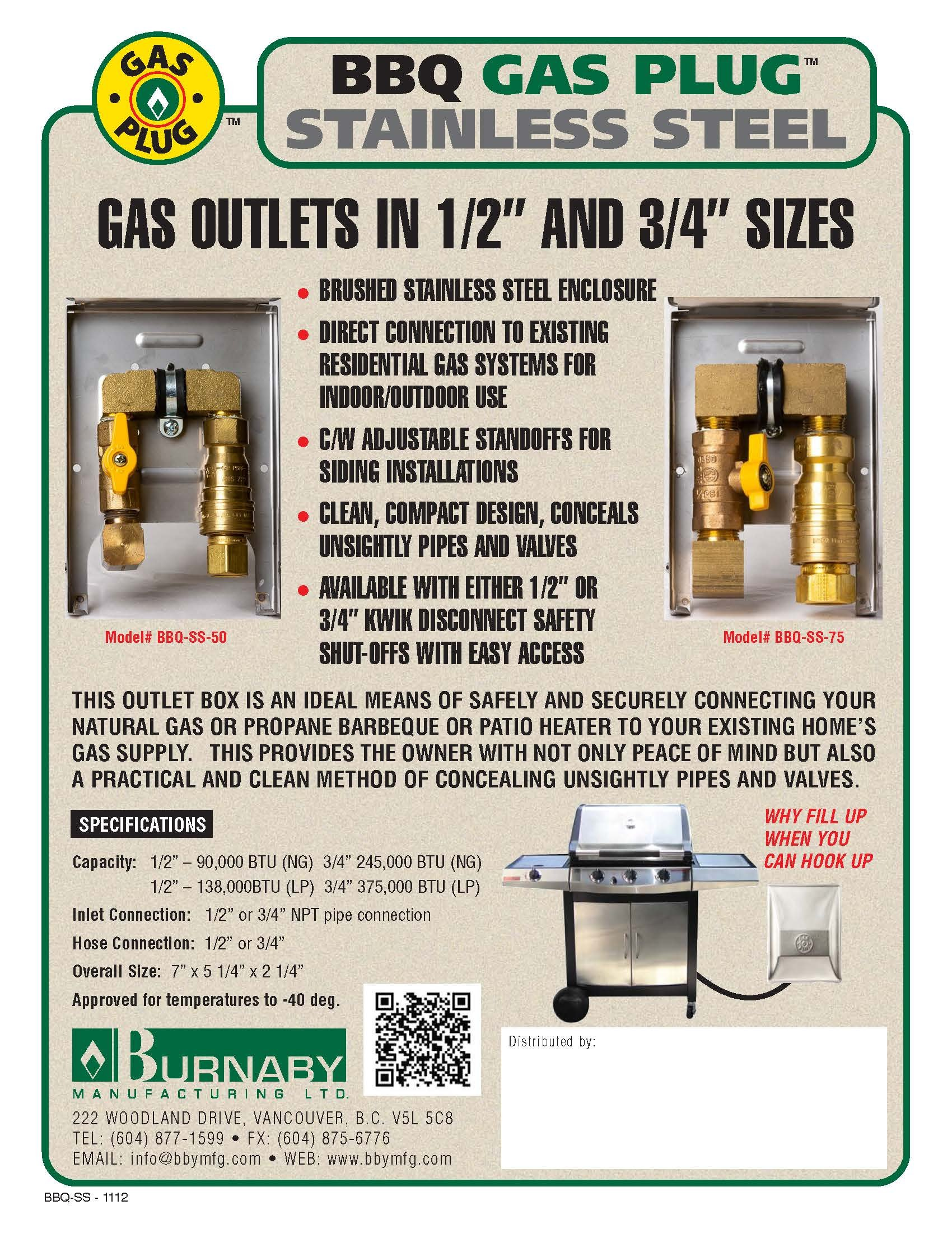 Burnaby Manufacturing Ltd BBQSS75 3/4'' Box Gas Outlet, 3/4-Inch, Stainless Steel by Burnaby Manufacturing Ltd