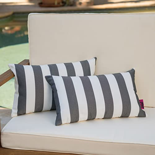 Christopher Knight Home Coronado Outdoor Black and White Stripe Water Resistant Rectangular Throw Pillow Set of 2