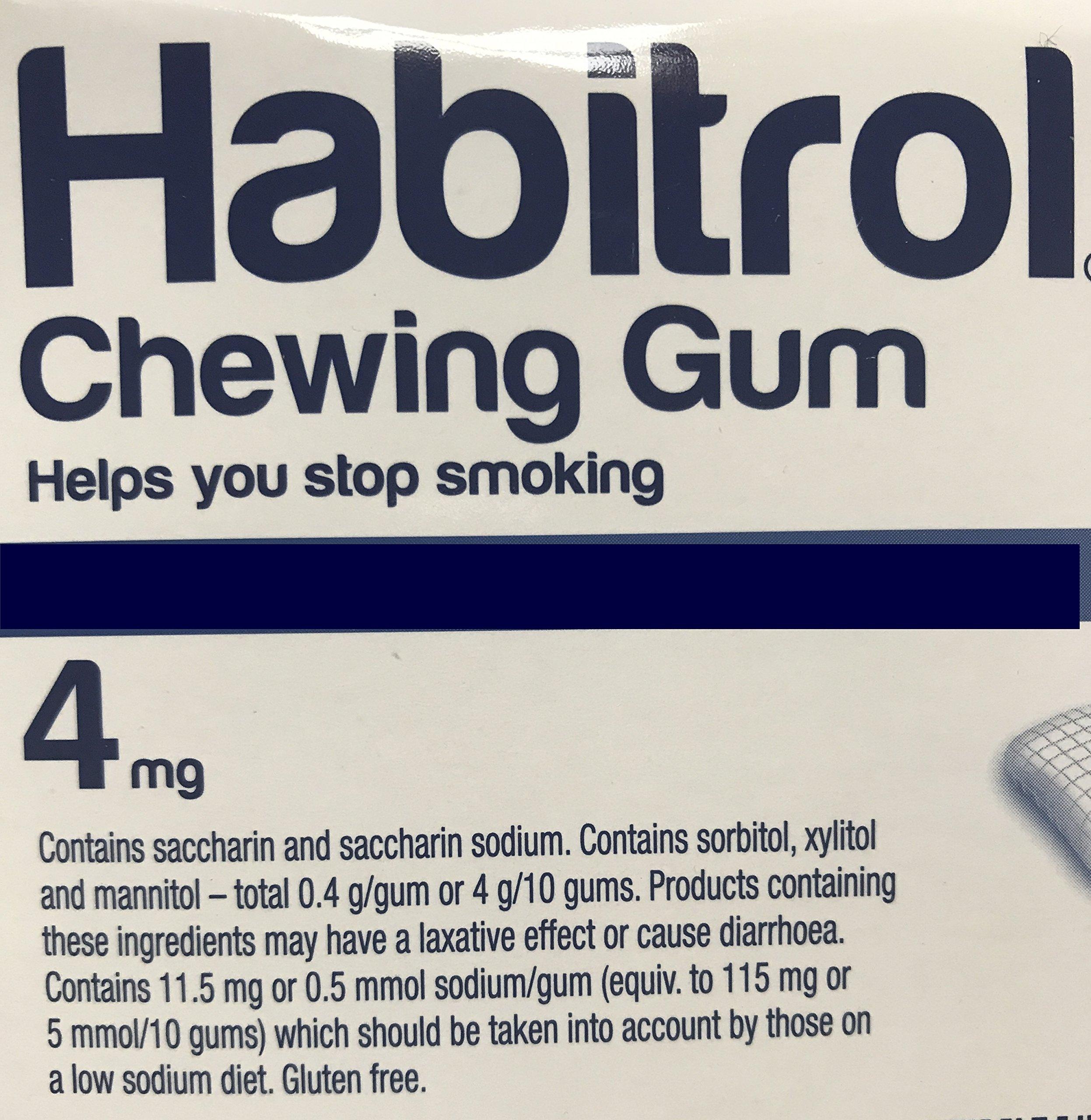 Habitrol Nicotine Gum 4mg Mint Flavor. 2 bulk packs of 384 (total 768 pieces)