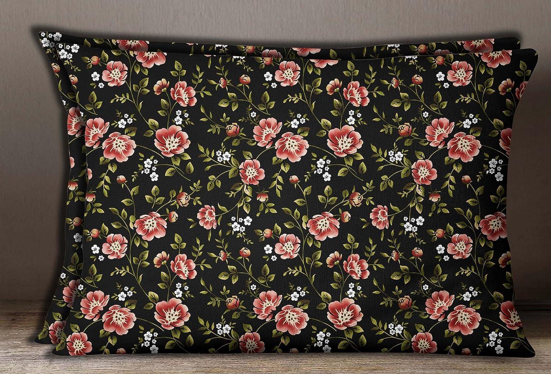 Details about  /S4Sassy 1 Pair Home Decorative Rectangle Cotton Poplin Damask Print Pillow Sham