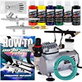 PointZero Multi-purpose 3 Airbrush Kit w/ Compressor and Createx Colors Set of 6 Paints