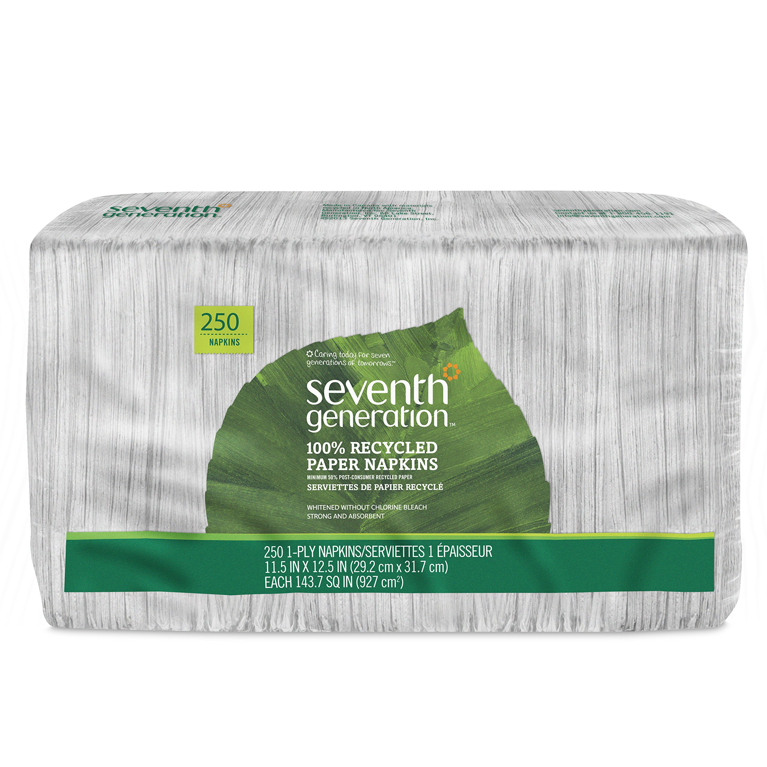 Seventh Generation Lunch Napkin, White Color, 1-ply, 250-Count Packs (Pack of 12)
