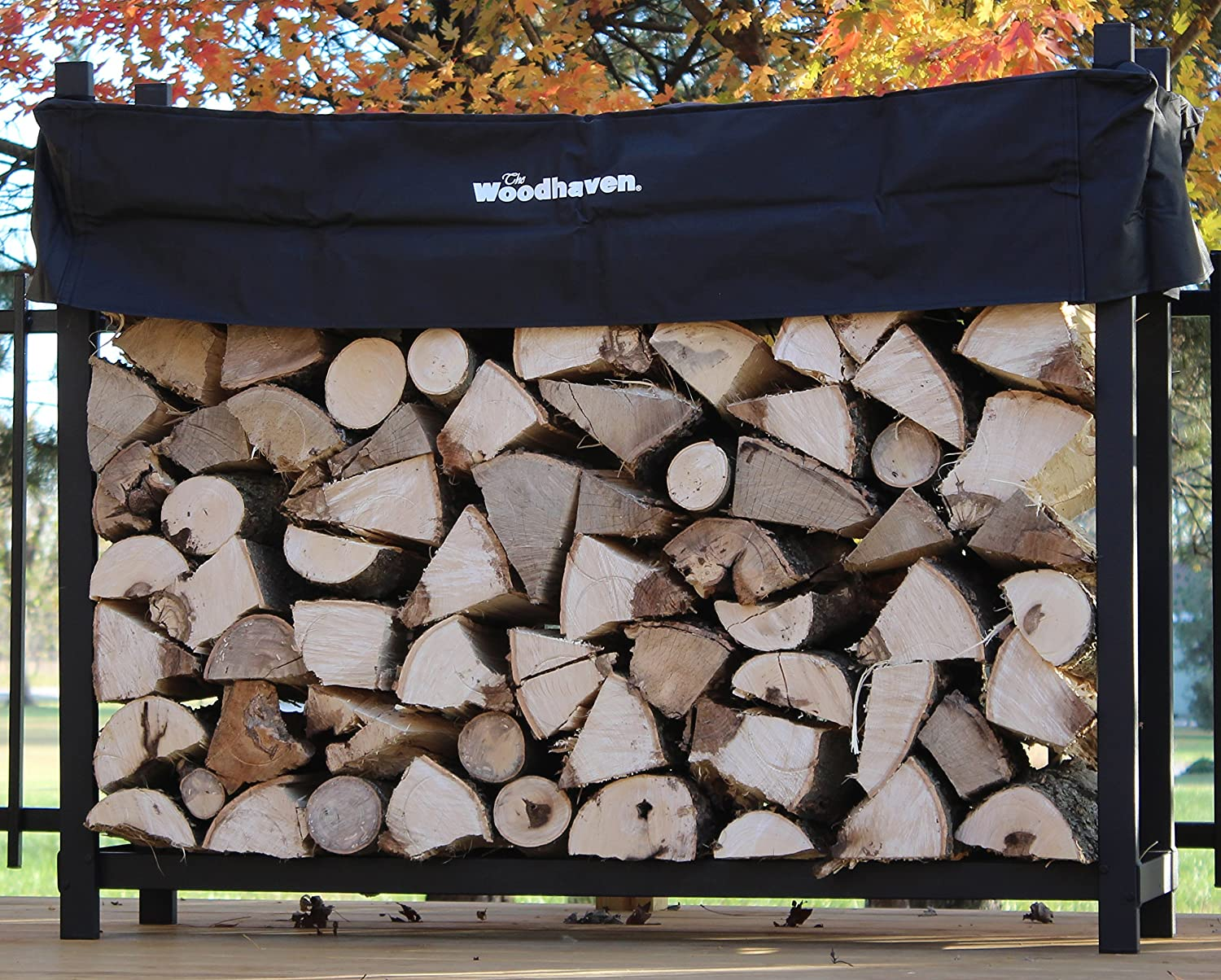 amazon com the woodhaven 5 foot firewood log rack with cover
