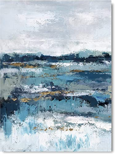 Yihui Arts Hand-Painted Abstract White Navy Oil Painting Modern Canvas Wall Art Abstract Landscape Artwork Stretched and Framed Ready to Hang