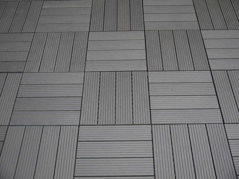 bambou//plastique 0,9 m/² 30 x 30 cm Gartenfreude Lot de 10 carrelages en WPC faciles /à poser et r/ésistants aux intemp/éries Couleur teck Env