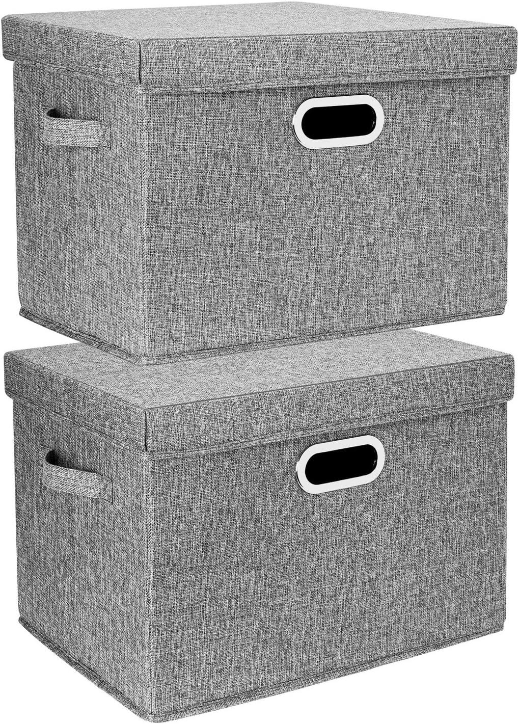 Ropa y Libros Estantes TYEERS 2 Paquetes Caja de Almacenamiento con Tapa y Asa Cestas de Almacenaje Plegables de Ropa de Algod/ón Lino - Gris etc Organizadores de Almacenamiento de Juguetes