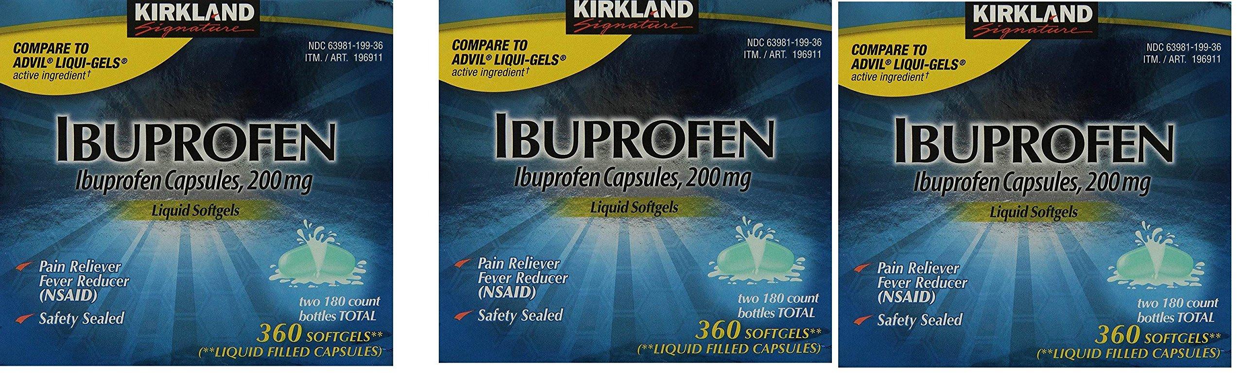 Kirkland Signature Brand Ibuprofen Liquid Softgels 200mg, 3 Packages(360 Capsules) by Kirkland Signature