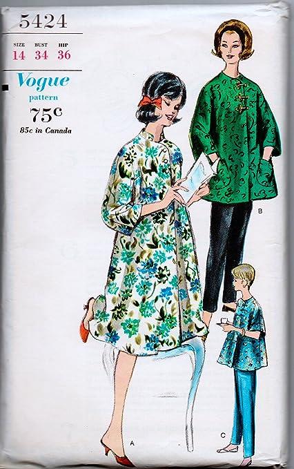 de35710ee3e42 Amazon.com: Vogue Misses Vintage Maternity Robe and Slacks Sewing ...