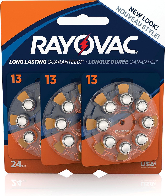 RAYOVAC Size 13 Hearing Aid Batteries, 24-Pack, L13ZA-24ZMB