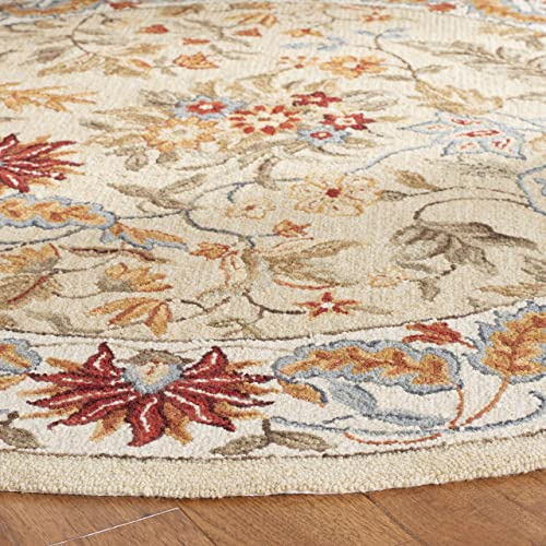 Safavieh Chelsea Collection HK141A Hand-Hooked Ivory Premium Wool Round Area Rug 8 Diameter