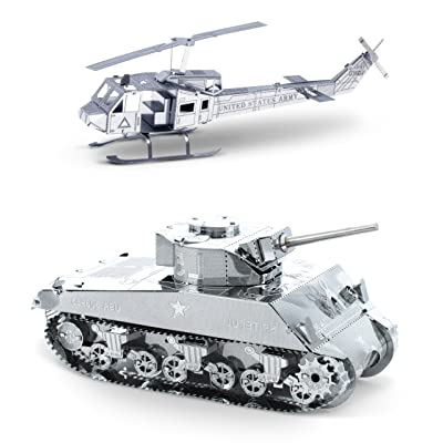 Metal Earth 3D Laser Cut Models - Huey Helicopter AND Sherman Tank = SET OF 2: Toys & Games