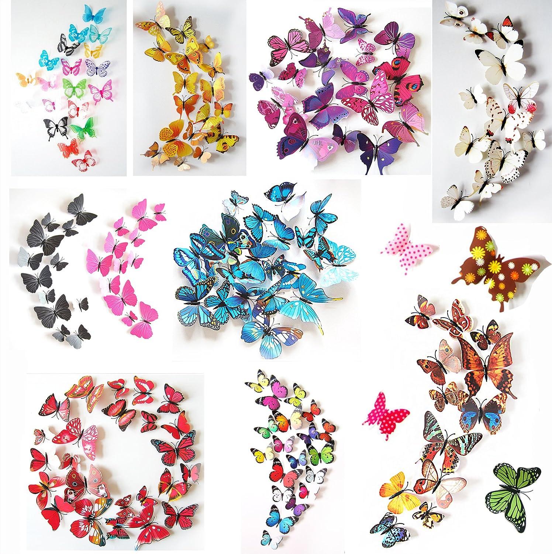 Oblique Unique 3D Schmetterlinge Blumen 12er Set Dekoration Wandtattoo  (Alive (blau)): Amazon.de: Küche U0026 Haushalt