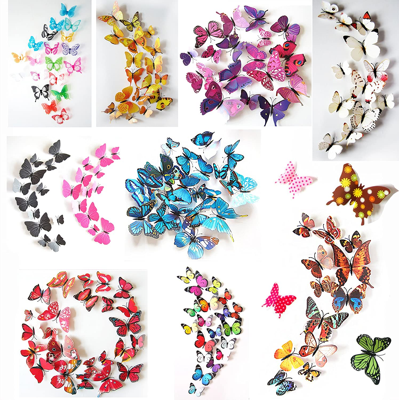Oblique Unique 3D Schmetterlinge Blumen 12er Set Dekoration Wandtattoo  (Alive (Gelb)): Amazon.de: Küche U0026 Haushalt