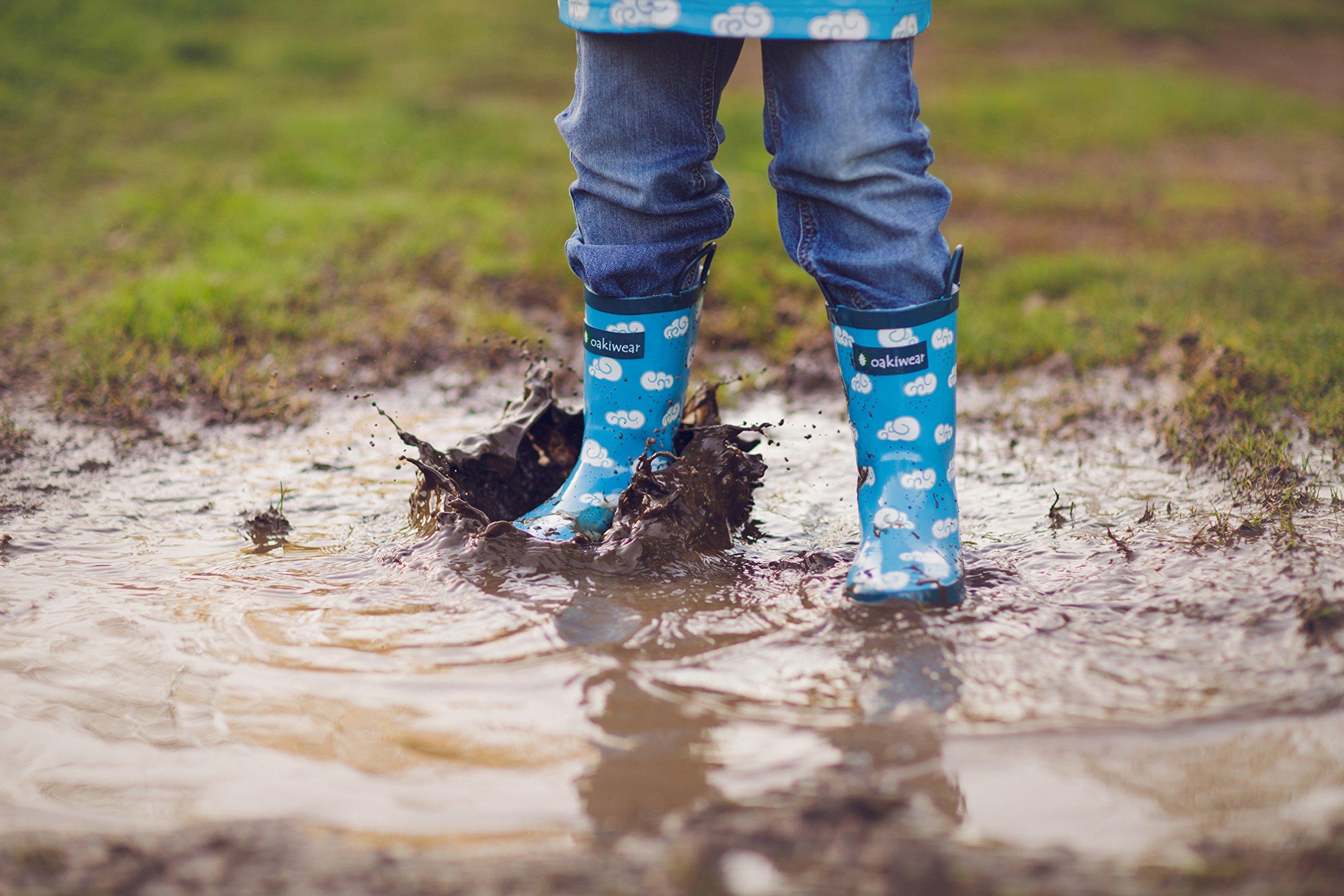 Oakiwear Kids Rubber Rain Boots with Easy-On Handles, Clouds, 9T US Toddler by Oakiwear (Image #6)