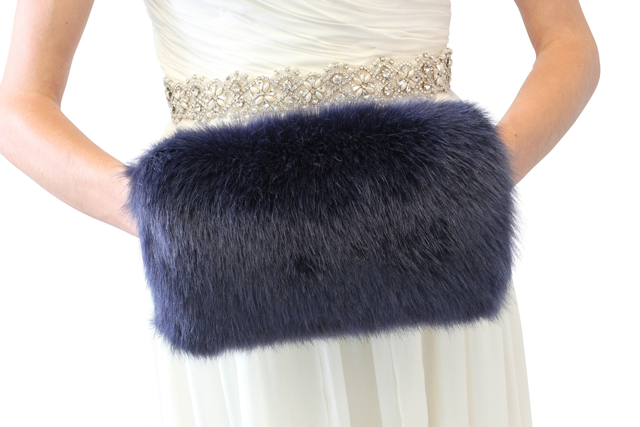 Bridal Fur Hand Muff, Navy Blue Wedding Fur Warmer, Large Adult