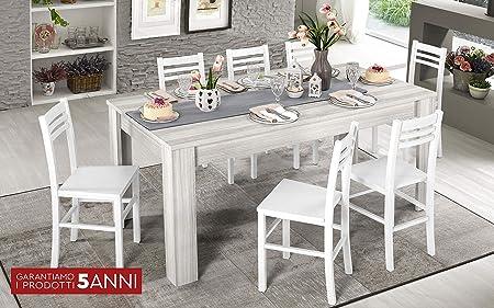 Tavolo Wood Bianco Mondo Convenienza.Dafne Italian Design Tavolo Allungabile Effetto Eucalipto Bianco
