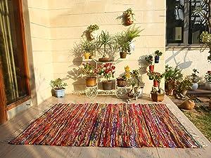 Colorful Boho Area Rug - 5x7 Feet Indian Handmade Decorative Chindi Floor Rag Rugs Ethnic Rajasthani Home Decor - Multicolor