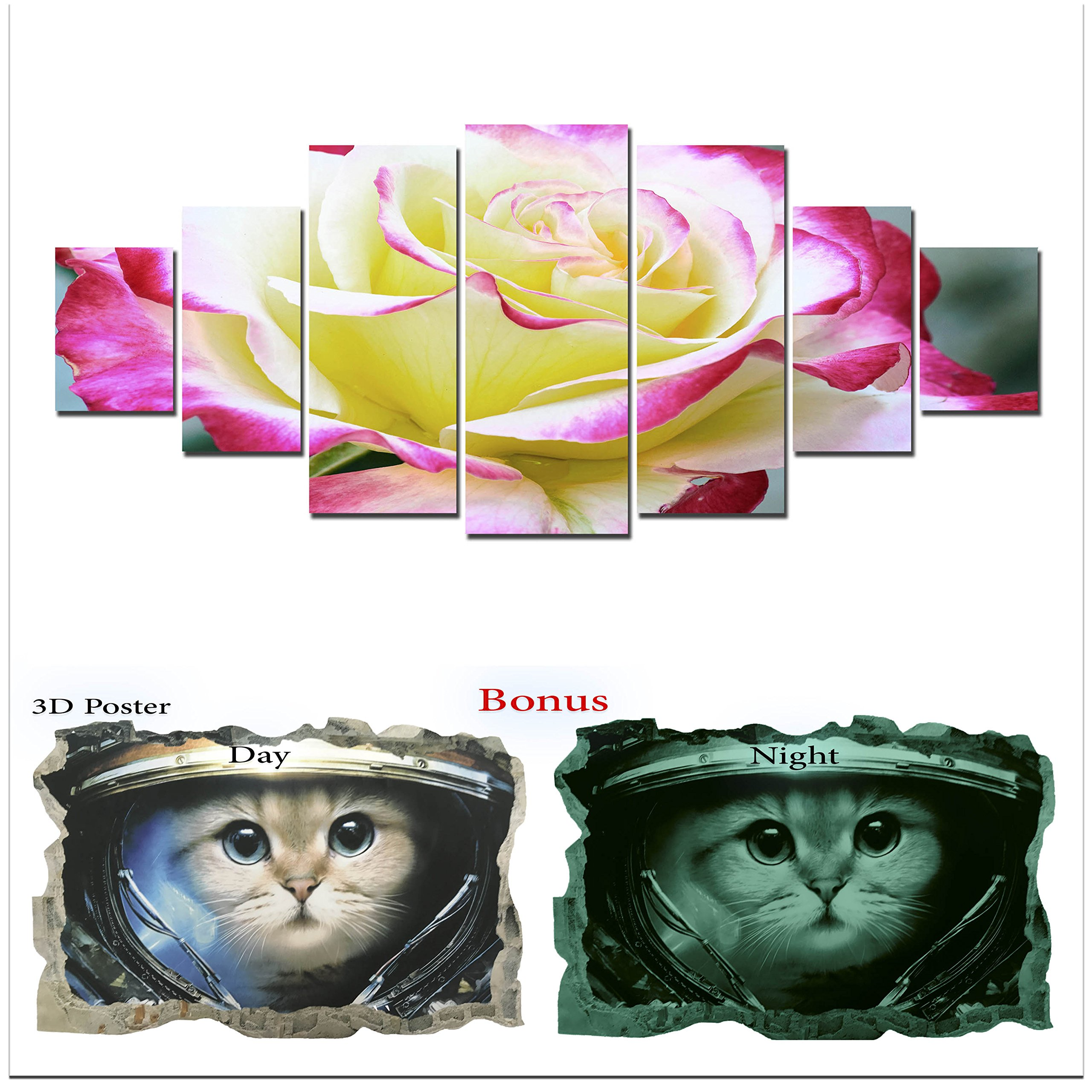 Large Canvas Wall Art Flowers Startonight HD Big Set, Glow Painting Beautiful Rose, Unique Modern Europe Framed Artwork, Bonus Gift 3D Poster Cat for Kids