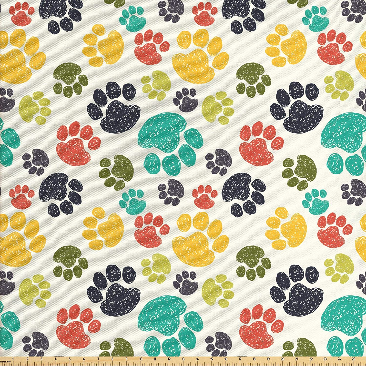 Ambesonne Dog Lover Fabric by The Yard, Hand Drawn Paw Print Doodles Circular Pattern Children Drawing Style Animal, Decorative Fabric for Upholstery and Home Accents, 1 Yard, Charcoal Beige