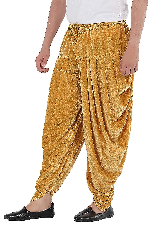Patiala-Pants-Salwar-fuer-Maenner-Samt-elastischer-Bund-handgefertigt-laessig-Wear Indexbild 4