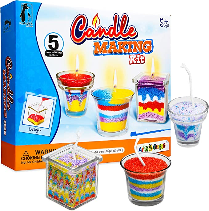 Diy Candle Making Kit Candle Making Supplies Craft Kit Arts And Crafts Set Includes 5 Bags Of Colored Wax 3 Glass Containers 3 Wicks 3 Wick Holders And A Designing Tool Amazon Com