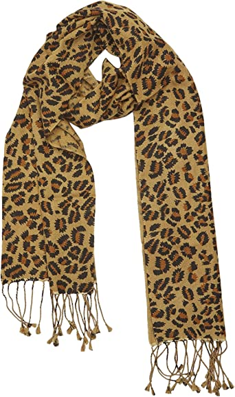 New Leopard Pattern Pashmina Silk Cashmere Shawl Scarf Stole Wrap Brown /& Black