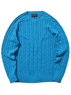Cotton Cable Crewneck Sweater 11-15-1160-103: Blue