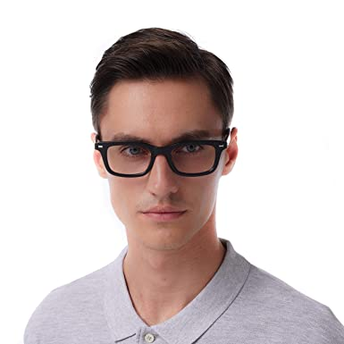 d504d81006 Men Eyeglasses Strong Look Bold Rectangular Clear Lens Two Toned Acetate  Frame (Black)  Amazon.co.uk  Clothing