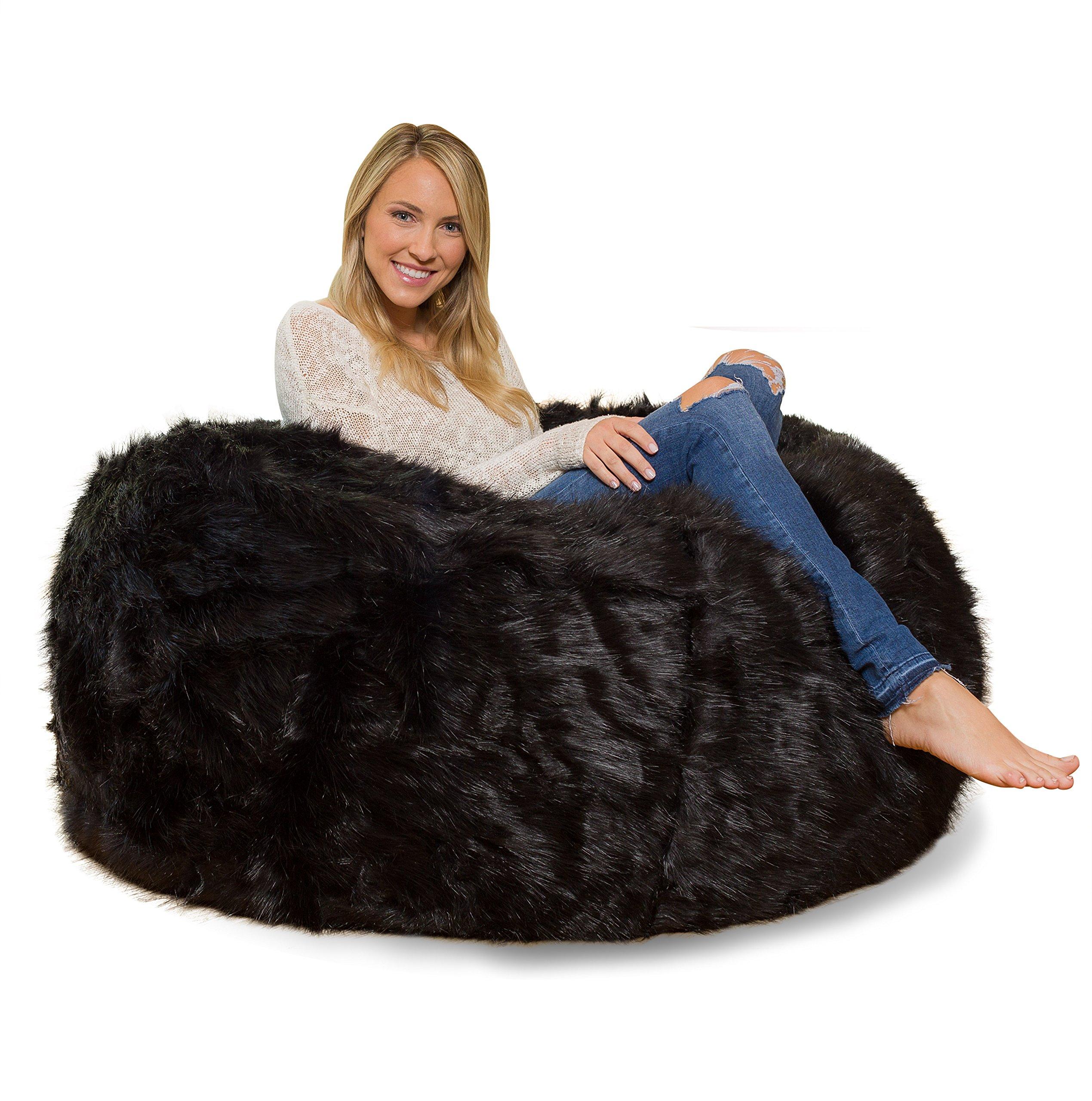 Comfy Sacks 4 ft Memory Foam Bean Bag Chair, Black Furry