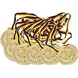 KSS 6 x Medaillen groß ca. 6cm Durchmesser ! mit Schwarz, rot, gold Band Kindergeburtstag Fußball Party Mitgebsel Mitbringsel Tombola